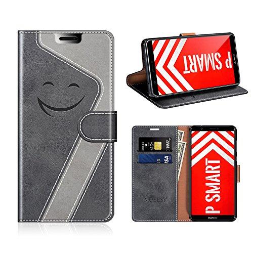 MOBESV Smiley Huawei P SMART Hülle Leder, Huawei P SMART Tasche Lederhülle/Wallet Hülle/Ledertasche Handyhülle/Schutzhülle für Huawei P SMART, Schwarz/Grau