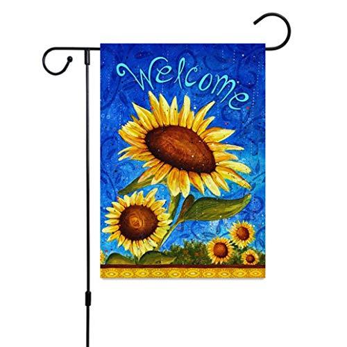 Giney rationele Nieuwe Decoratieve Welkom Bloem Lente Zomer Tuin Vlag Papavers & Vogelhuisjes Dieren Tuin Banner (Geen Paal)