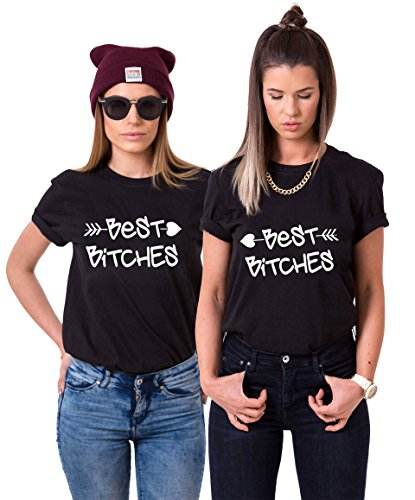 Best Friends T-Shirts für 2 Mädchen Bitch Aufdruck – Sommer Oberteile Set für Zwei Damen – Beste Freunde Tops Sister BFF Geburtstagsgeschenk (Schwarz + Schwarz, Left-M + Right-S)
