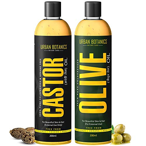 UrbanBotanics® Cold Pressed Castor Oil and Olive Oil for Hair & Skin - 200ml Each (COMBO PACK)