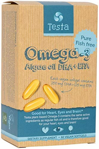 Testa - Cut Out The Middle-Fish - Much Healthier Than Fish Oil - Plant Based GMO-Free Omega-3 DHA + EPA from Algae Oil - Pure and Vegan - Testa Omega 3-60 Capsules