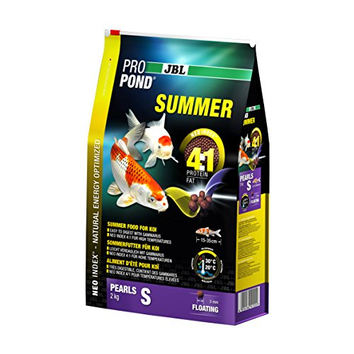 JBL Sommerfutter für Koi, Schwimmende Futterperlen, Saisonfutter, ProPond Summer, Größe S, 2,0 kg