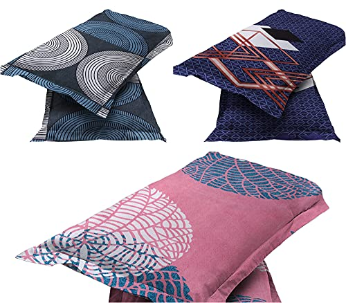 BSB HOME® Present Designer Printed 6 Piece 100% Pure Cotton Pillow Cover Set- (20″ X30″ Inches, Brown, Grey, Blue and Red)