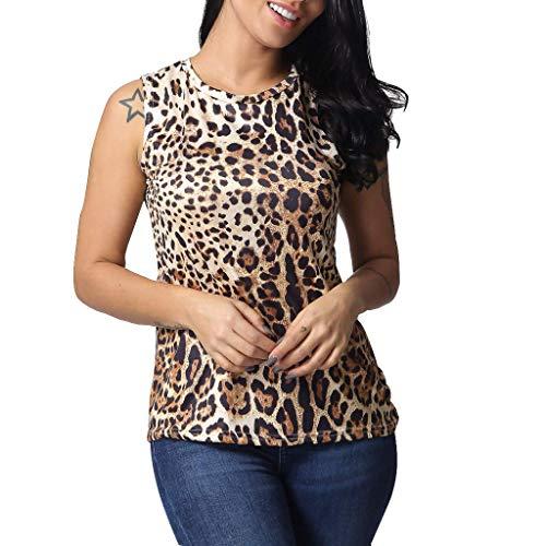 Vimoli Blusen Damen ärmellose Weste Camis Tank Tops Crop Lose Blusen Der Sommer beiläufige Leopard Weste Trägershirts T-Shirt Lässige Oberteile (A Khaki,L)