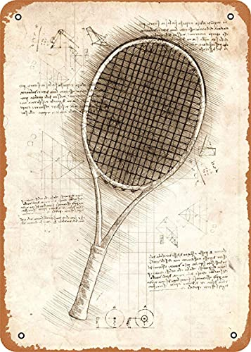 Da Vinci Inspired Sketches Raqueta de tenis Arte de pared 12 'x 8' Metal estaño Retro Vintage Sign