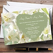 White And Green Calla Lily Personalized Wedding Invitations