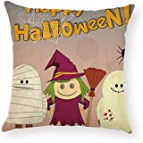 Fhdang Decor Lovely Fashion Funny Spiderweb Halloween Pillowcase Mummy Broom Witch Pillow Case Cushion Cover Protector Square 18 x 18 inch for Living Room Couch Sofa