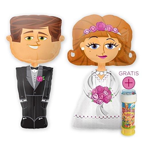 PartyMarty Das Hochzeits-Set: Airwalker Brautpaar Braut & Bräutigam, je 127cm groß & Magic Color Bubbles 60ml