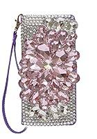 Galaxy A30 SCV43 au [フラップ留め具短め][ミラーあり] デコ デコレーション きらきら ストーン 紫色 パープル 花 ピンク スマホケース 手帳型 携帯カバー PU スマホ ケース 手帳 横型 鏡 スタンド ストラップホール ピカデリー