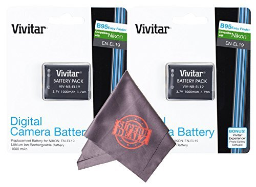 2 Pack Vivitar EN-EL19 Ultra High Capacity Rechargeable 1000mAh Li-ion Batteries + Microfiber Lens Cleaning Cloth for NIKON Coolpix Cameras(Nikon EN-EL19 Replacement)