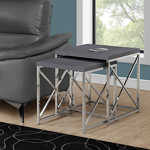 Monarch Specialties , Nesting Table, Chrome Metal,...