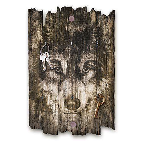 Kreative Feder Wolf Designer Schlüsselbrett, Hakenleiste Landhaus Style, Shabby aus Holz 30x20cm, HSB098