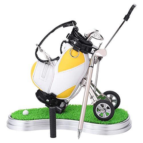 Mini Golf Stifthalter,Miniatur-Golftasche mit Golfschläger-Kugelschreibern und intergrierter Uhr Tischdeko Golf Geschenkset Golftasche mit Rasen und Uhr plus 3 Stiften in Golfschlägerform(Gelb)