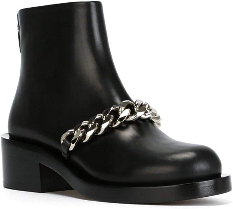 Women Waterproof Round Toe Chunky Heel Ankle Boots Side Zipper gold Silver Chain Warm Fur Plush Winter Short Boots