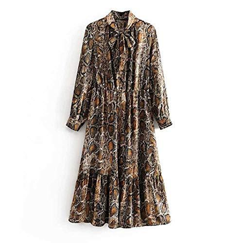 Lady Fashion Shirt met slangenprint Vlinderdas Kraag Lange mouw Losse jurken Stretch Taille Knielengte Geplooid
