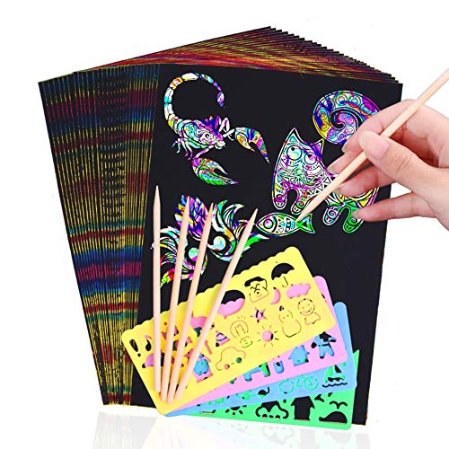 50 Piece Scratch Art Paper for Kids,Rainbow Magic Scratch Off Paper Best DIY Paper Crafts Kits for Kids Birthday Party Game, Best Gift for Children's Day and Christmas with 4 Stencils 5 Wooden Stylus