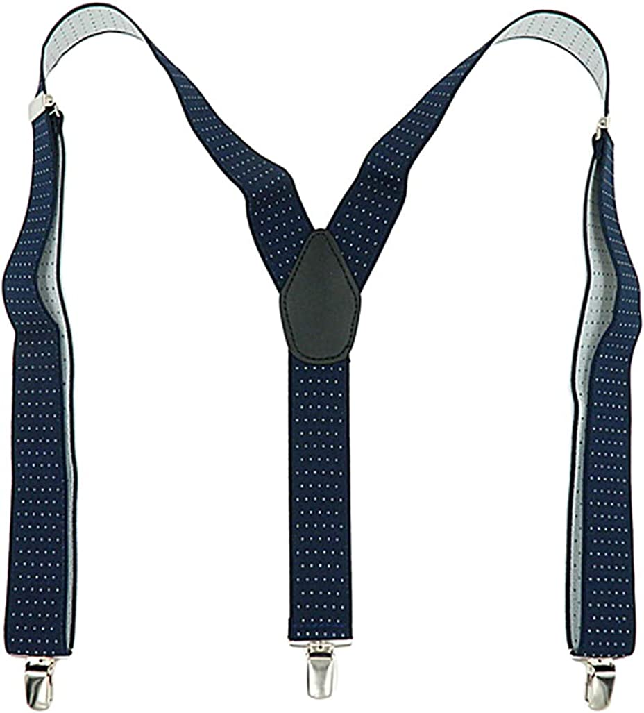 SupSuspen Men Polka Dots Y-Back Suspenders 1.4'' Heavy Duty Braces&3 Metal Clips