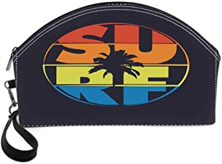 Modern Beautiful Women's semi circular cosmetic bag,Surf Typography in Rainbow Colors Featured with Palm Tree Silhouette Illustration Decorative For traveling,10.8″Lx3.3″Wx6.6″H