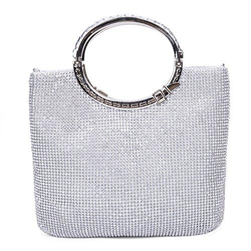 CLOCOLOR Bolso de mano con diamantes cristales brillantes cartera de mano con asas estilo elegante con gran espacio bolso de fiesta para mujer, Plateado