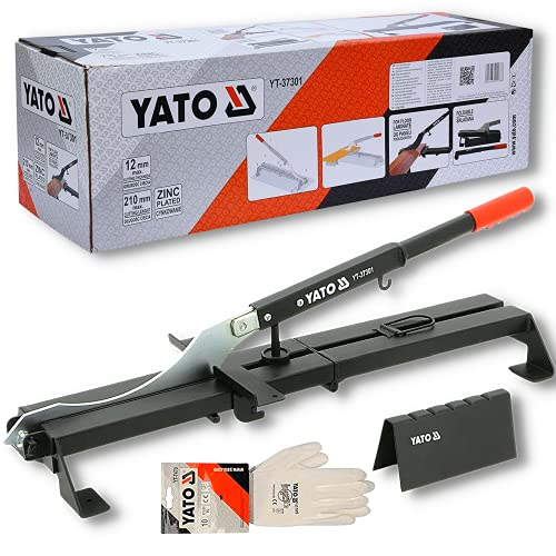 Taglierina per laminato professionale YATO | ghigliottina per il taglio di pavimenti in laminato e pannelli ad incastro fino 210 mm in larghezza | taglia laminato | In regalo Guanti da lavoro bianchi
