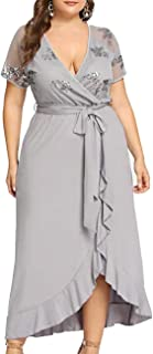 Women's Vintage Flare Sequin Top Cross V-Neck Short Sleeve Cocktail Formal Maxi Dress