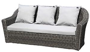 Strandgut07 Polyrattan 2er Sofa bicolor inkl. Kissen, grau, ca. 206 cm