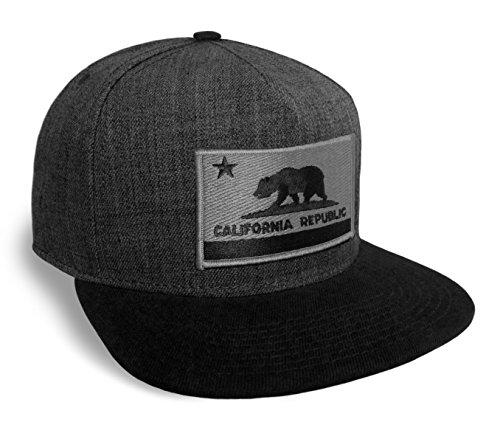 Strange Cargo California State Flag Dark Grey and Black Flat Brim Baseball Cap Hat Snapback