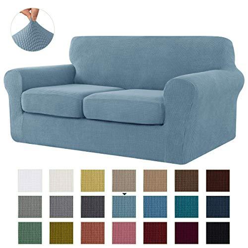 CHUN YI Stretch Sofa Slipcover Separate Cushion Couch Cover, Armchair Loveseat Replacement Coat for Ektorp Universal Sleeper, Checks Spandex Jacquard Fabric (Medium,Smoky Blue)