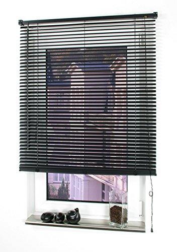 Liedeco Jalousie aus Kunststoff, 160 cm Länge, Kunststoff-Jalousie schwarz B 120 cm