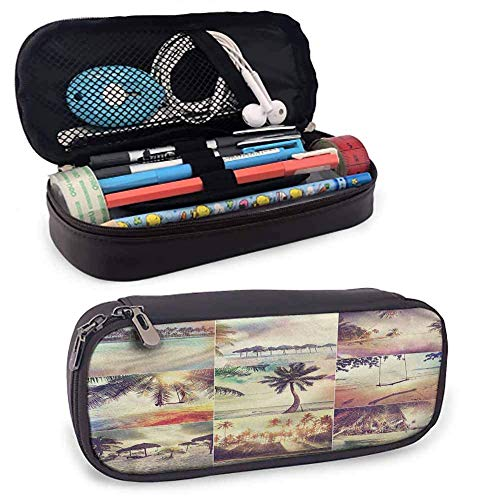 Big Capacity Pen Marker Holder Storage Tropical Colorful Pencil Cases, Beach in The Ocean Coast Small Cute Stand-Up Waterproof Dust-Free 8