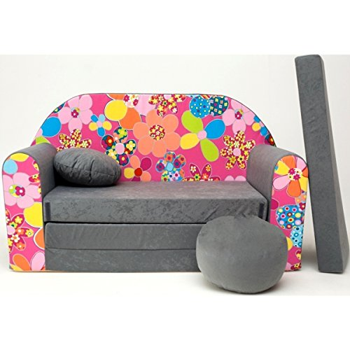 Welox Kindersofa Spielsofa Minicouch aus Schaum Kindersessel Kissen Matratze Farbwahl (A12)