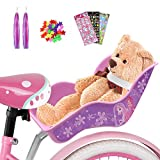ANZOME Doll Bike Seat with Colored ribbon DIY Decorative Decals Stickers and Star Wheel Spokes, Dolls Carrier Fits for Standard Sized Toys and Stuffed Animals Kids Bicycle Accessories for Girls Purple