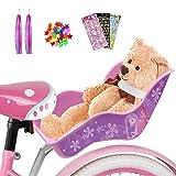 ANZOME Kinderfahrrad Puppensitz, Fahrradsitz für Puppe mit Speichenclip Sterne, Aufklebern, Streamer Lenker Bänder, für DIY Puppensitz mädchen Geschenk Set