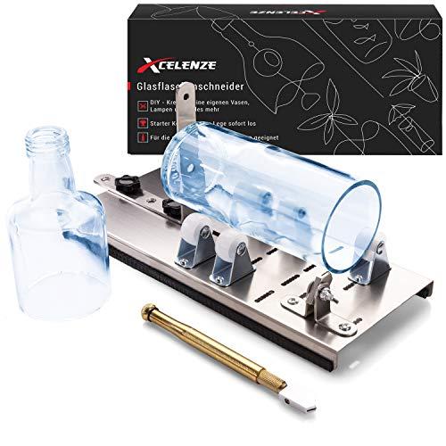 Xcelenze – Premium Glasschneider für Flaschen vormontiert zum sofortigen Starten für Anfänger und Profis | Flaschenschneider mit 5 verstellbaren Rädern für perfekte DIY Lampen, Kerzenständer