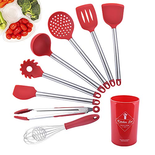 Galapara Utensilios de Cocina Silicona Set, 8 Piezas Juego de Utensilios de Cocina Utensilios de Cocina de Barril...