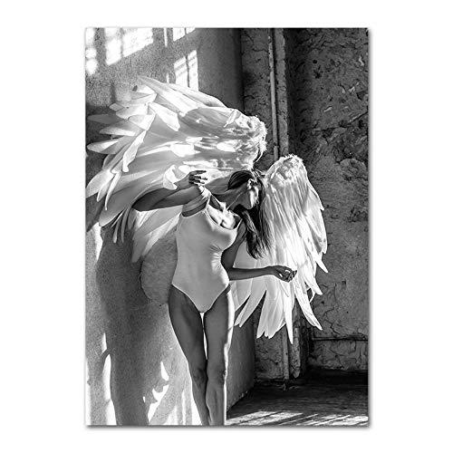 YWOHP Cartel de Moda de alas de ángel en Blanco y Negro Mujer de Plata Dorada impresión en Lienzo Pintura chica-60x90cm_Unframed_Picture_2