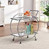 FirsTime & Co. Silver and Gray Odessa Bar Cart, American Designed, 28 inches, Silver & Mirror (70241)