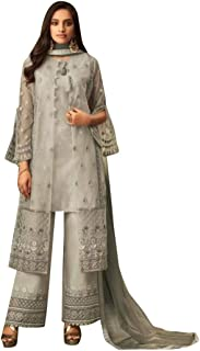 Grey Ready To Wear Party wear Indian Ethnic Pakistani Punjabi Straight Suit Net With embroidery Salwar Kameez Party wear D...