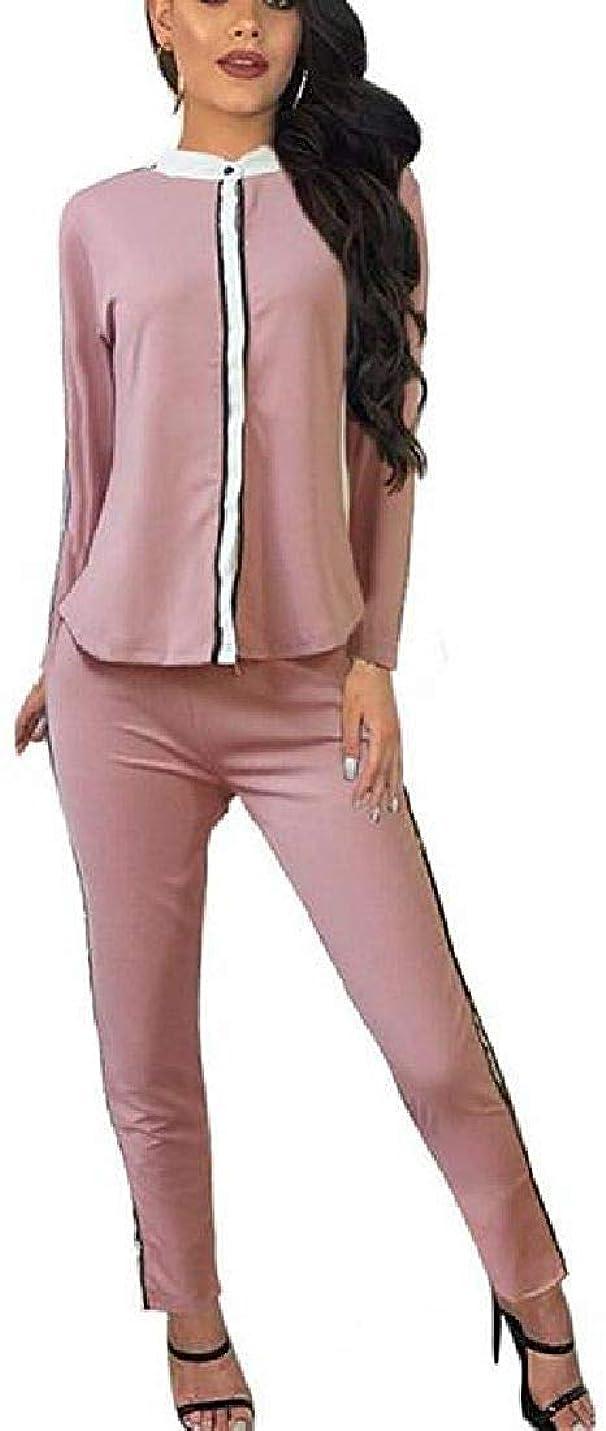 なめらか最小統計女性 2 PCS 衣装 トラックスーツ カジュアル ロングパンツ トップ パンツ セット Black US Small
