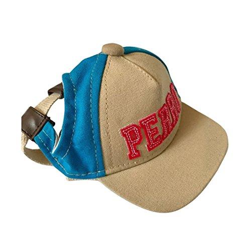 feiling HaustierBaseball Hut für Katzen Welpen Kostüm Zubehör Sunbonnet Kleine Hunde Kopfbedeckung Stirnband Sonnenhut Einstellbare Hundecap Mütze mit Ohr-Löcher (S, Blau)