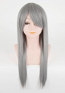 [富士達] 日本メーカー製 ウィッグ コスプレ フルウィッグ ロング ウイッグ ストレート シルバー 銀髪 自然 さらさら 耐熱 かつら ウイッグ セミロング ネット 付き LML60-F17