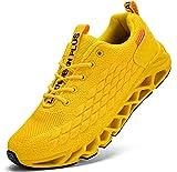 LARNMERN Zapatillas de Deporte Hombres Ligero Transpirable Running Zapatos para Correr Gimnasio Casual Sneakers Deportivas(Amarillo 46)