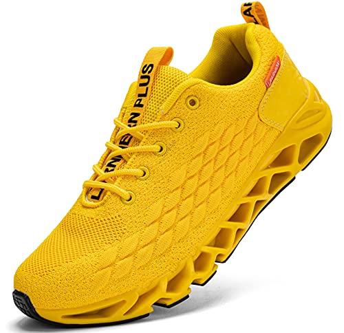 LARNMERN Scarpe da Ginnastica Uomo Donna Corsa Respirabile Mesh Sportive Fitness Running Sneakers Basse Interior Casual all'Aperto(Giallo 43)