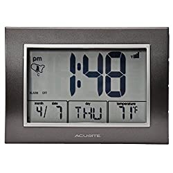 AcuRite Atomic Alarm Clock with Date, Day of Week and Temperature, 0.5, Grey