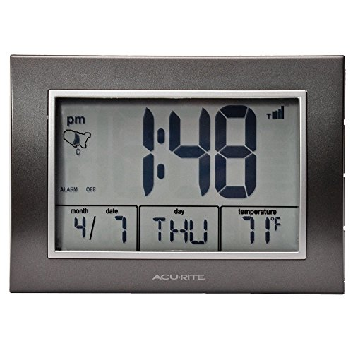 AcuRite Atomic Alarm Clock with Date, Day...