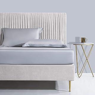 CTOBB Drap-Housse 100% Coton Gris Noble 5 étoiles Drap de lit Queen King Standard Drap Plat avec Housse de Matelas à Bande...