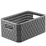 Rotho Country, Caja de almacenamiento de 6l en aspecto de ratán, Plástico PP...