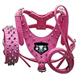 haoyueer Medium & Large Dog Leather Spiked Studded Dog Harness,Collar & Leash 3Pcs Set for Pit Bull,Mastiff, Boxer, Bull Terrier(Hot Pink,XL)
