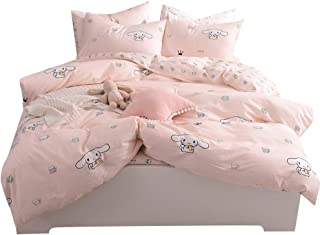 BoxHome Girls Little Cup Rabbit Pattern Twin Bedding Duvet Cover Set 100% Cotton Pink Bedding Collections for Kids Children Teen Women