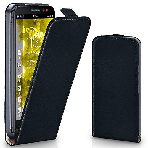 MoEx® Flip Case mit Magnetverschluss [R&um-Schutz] passend für BlackBerry Z30 | 360° Handycover aus feinem Premium Kunst-Leder, Schwarz